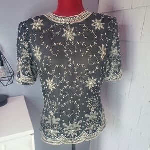 Scala fully beaded short sleeve top